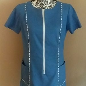 Vintage Holly Hill Pleated Dress Pockets Modest
